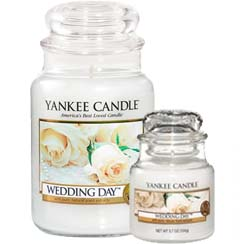 Yankee Candle Wedding Day fragrance large and small jars from The Present Shop.
