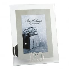 100th Birthday Glass and Mirror 4 x 6 Photo Frame