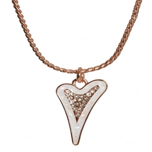 Miss Dee 14crt Rose Gold Plated Necklace with Enamel & Diamante Heart Pendant