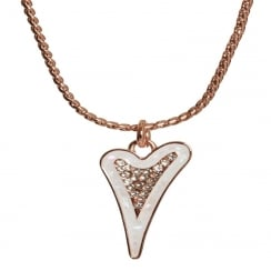 14crt Rose Gold Plated Necklace with Enamel & Diamante Heart Pendant