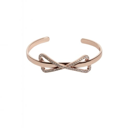 Miss Dee 14crt Rosegold Plated Bangle with Diamante Bow