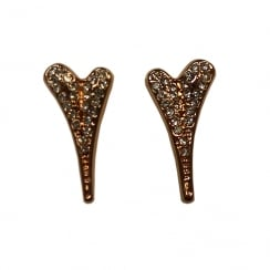 14crt Rosegold Plated Earring with Solid Heart and Full Diamante Face