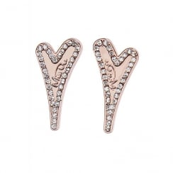 14crt Rosegold Plated Heart Earrings with Diamante Surround