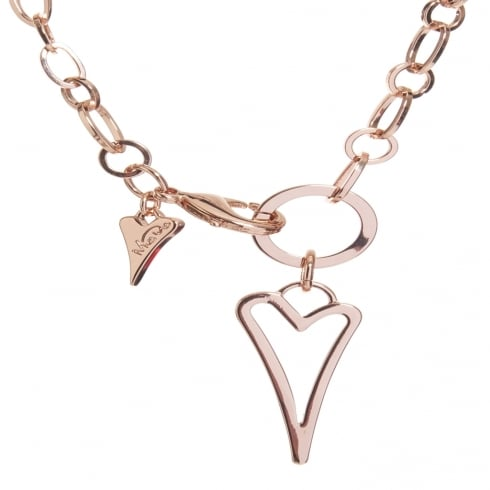 Miss Dee 14crt Rosegold Plated Hollow Heart Fashion Necklace