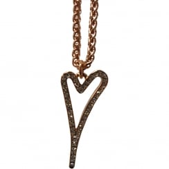 14crt Rosegold Plated Necklace with Hollow Heart and Diamante Face