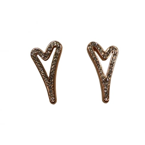 Miss Dee 14crt Rosegold Plated Stud Earring with Hollow Heart and Diamante Face