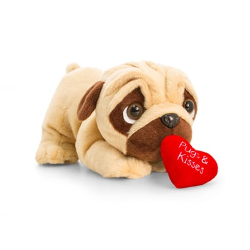 Keel Toys 18cm Laying Pugsley W/Heart & Sound