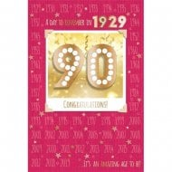 1929 A Day To Remember 90th Female Birthday Card