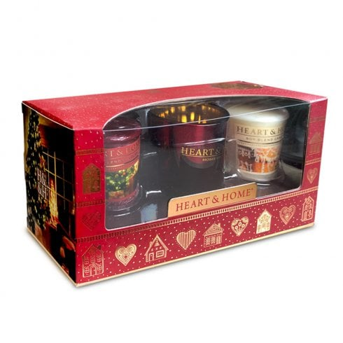 Heart & Home 2 Candle Votives & Holder Christmas Gift Set 2