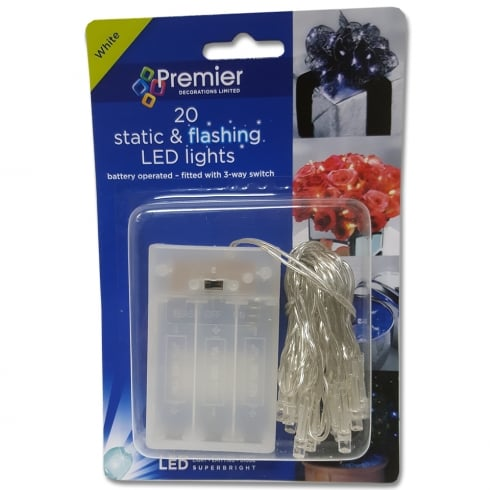 Premier Decorations 20 Static & Flashing White LED Chain Lights