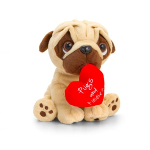 Keel Toys 20cm Pugsley Valentines Pugs and Kisses