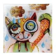 20cm Small Cat Glass Plate