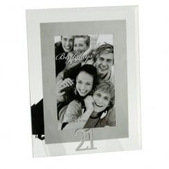 21st Birthday Glass and Mirror 4 x 6 Photo Frame