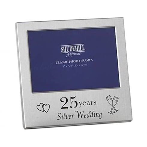 Shudehill Giftware 25 Years Silver Wedding Anniversary 5 x 3.5 Photo Frame