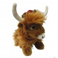 25cm Highland Cow With Tartan Hat
