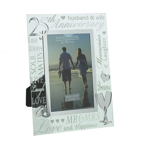 Impressions By Juliana 25th Silver Wedding Anniversary 4 x 6 Glass Mirror Photo Frame