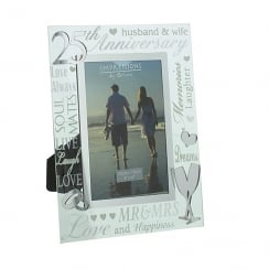 25th Silver Wedding Anniversary 4 x 6 Glass Mirror Photo Frame