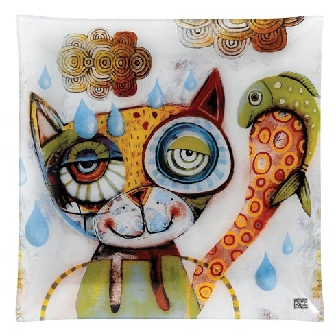 Allen Designs 30cm Large Cat Glass Plate