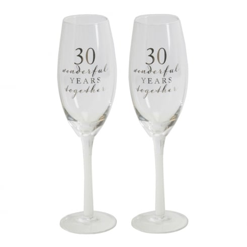 Amore 30th Anniversary Champagne Flutes Set of 2