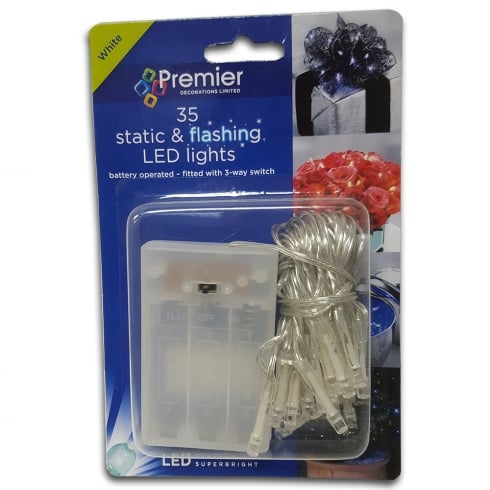 Premier Decorations 35 Static & Flashing White LED Chain Lights