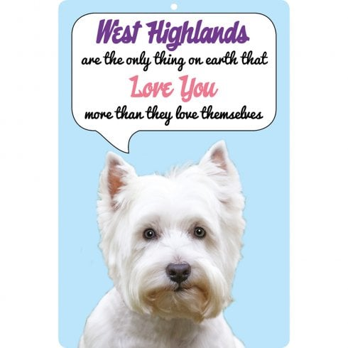 Faithful Friends Collectables 3D Dog Loves You Hang Up West Highland Terriers (White)