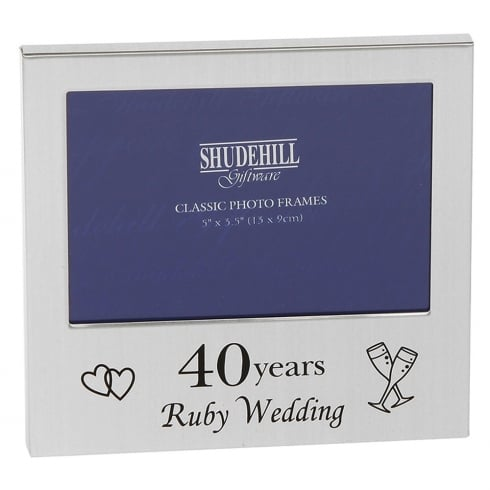 Shudehill Giftware 40 Years Ruby Wedding Anniversary 5 x 3.5 Photo Frame