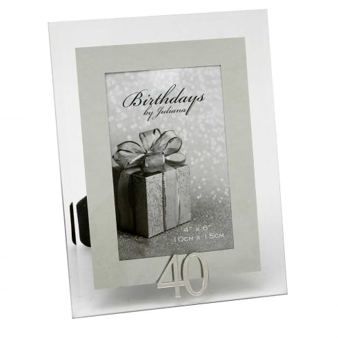 Impressions By Juliana 40th Birthday Glass and Mirror 4 x 6 Photo Frame