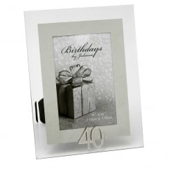 40th Birthday Glass and Mirror 4 x 6 Photo Frame