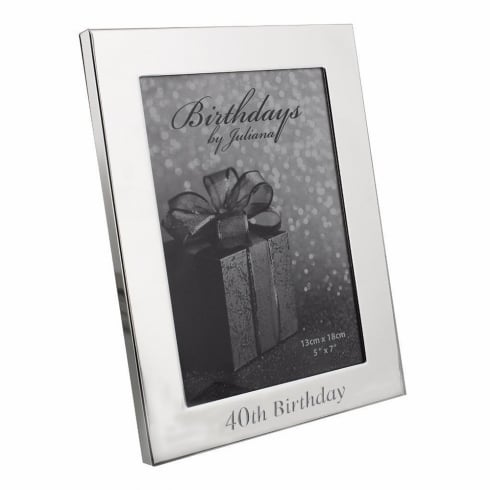Impressions By Juliana 40th Birthday Silver Plated 5 x 7 Photo Frame
