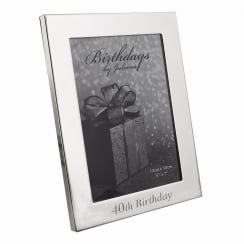 40th Birthday Silver Plated 5 x 7 Photo Frame