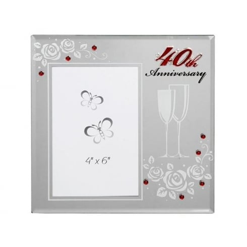 Shudehill Giftware 40th Ruby Anniversary 4 X 6 Photo Frame