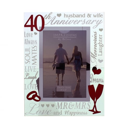 Impressions By Juliana 40th Ruby Wedding Anniversary 4 x 6 Glass Mirror Photo Frame