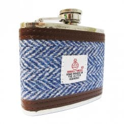 4oz Harris Tweed Hip Flask Light Blue