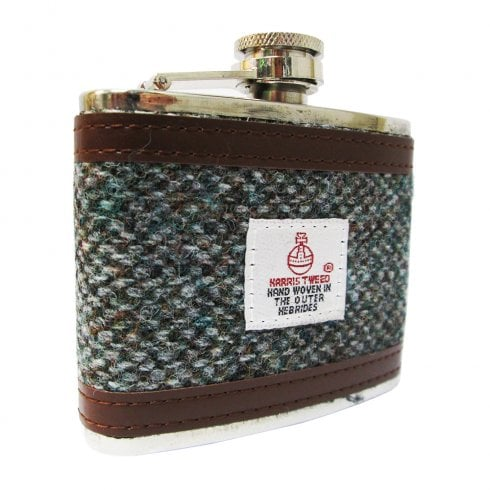 Harris Tweed 4oz Harris Tweed Hip Flask Light Grey