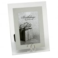 50th Birthday Glass and Mirror 4 x 6 Photo Frame