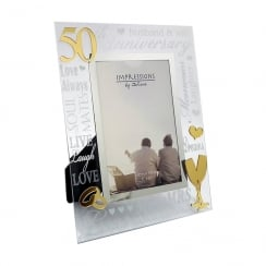 50th Golden Wedding Anniversary 4 x 6 Glass Mirror Photo Frame