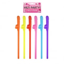 6 Willy Straws Assorted Colours