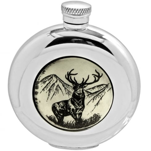 Piper Pewter 6oz Round Scrimshaw Stag Pewter Flask