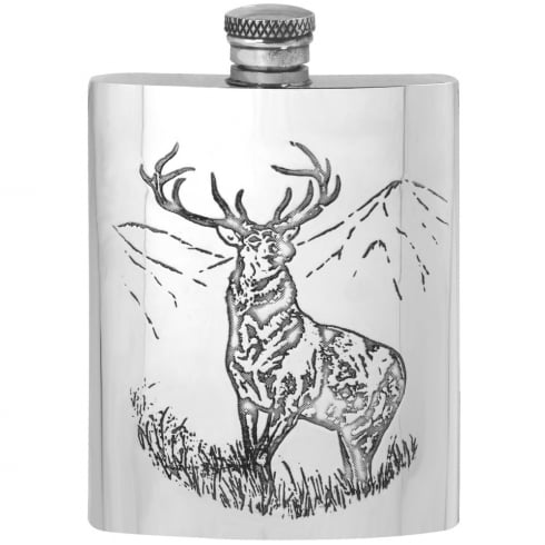 Piper Pewter 6oz Stag Pewter Flask