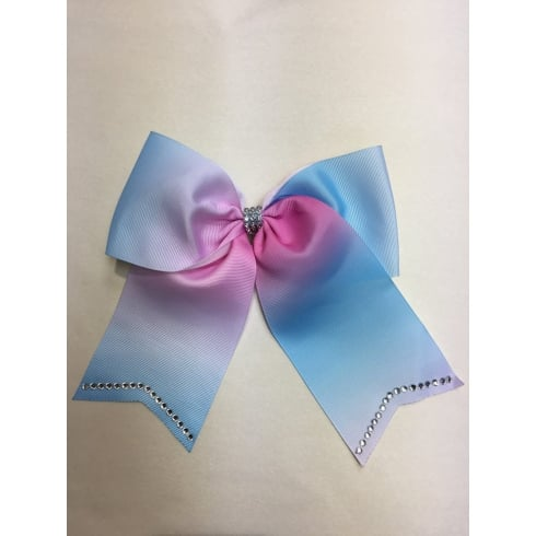 "7.5""Large Ombre Hair Bow with Rhinestone"