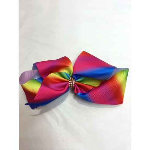 "8"" Large Rainbow Bow with Jewelled Centre"