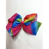 "8"" Large Rainbow Bow with Rhinestone Plain Centre"