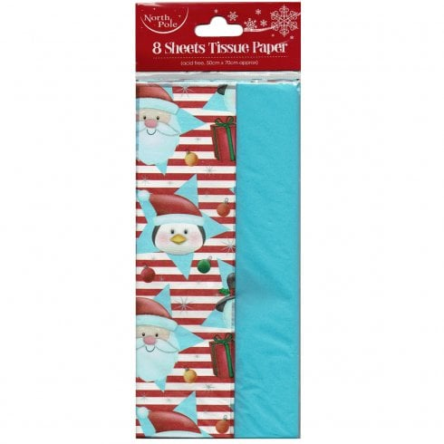 8 Sheets of Cute Snowman Reindeer Star Tissue Paper