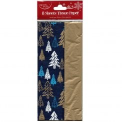 8 Sheets of Navy Trees Tissue Paper
