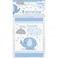 8 Umbrellaphants Blue Invites