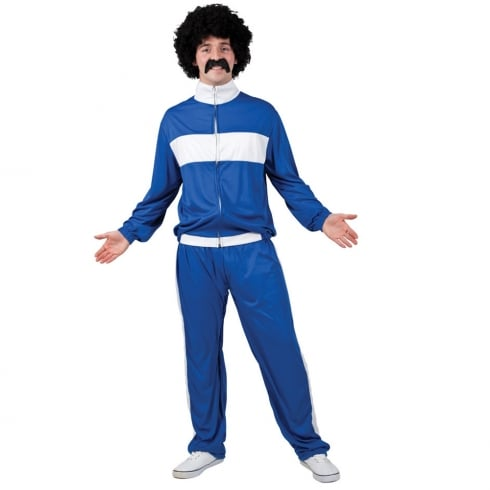 Wicked Costumes 80s Retro Trackie - Blue/White (One Size)