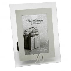 90th Birthday Glass and Mirror 4 x 6 Photo Frame