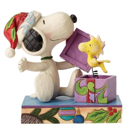 Jim Shore - Peanuts A Christmas Surprise Snoopy and Woodstock Figurine