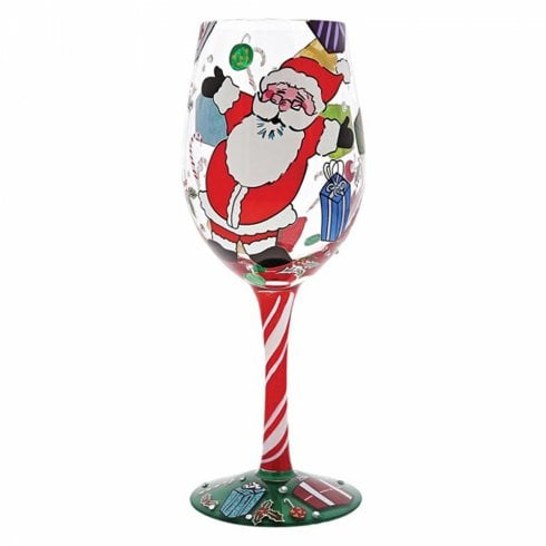 "Lolita ""A Claus For Celebration"" Christmas Santa Wine Glass"