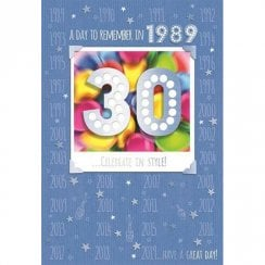 A Day To Remember in 1989 Celebrate In Style 30th Male Birthday Card